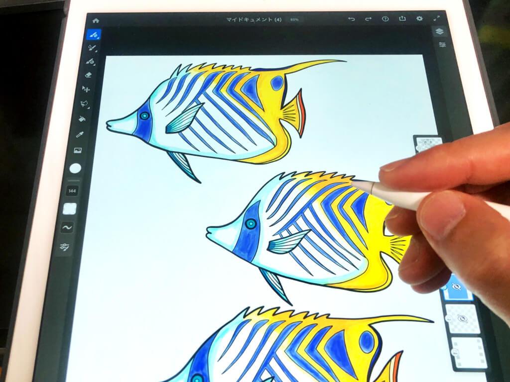 AdobeFrescoでイラスト作成!デザインの調整はPhotoshopが便利
