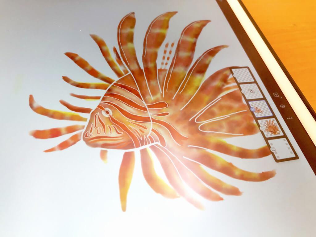 iPadとApple Pencilで「ミノカサゴ」を描く 水彩で着色