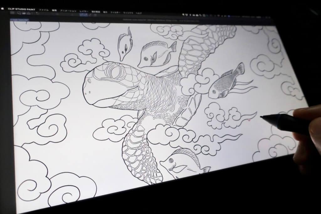 【クリスタでデジタルイラスト】ウミガメを和風に描いてみました!