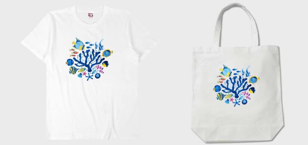 【BASEでオリジナルグッズ】魚の半袖Tシャツとトートバッグをデザイン!