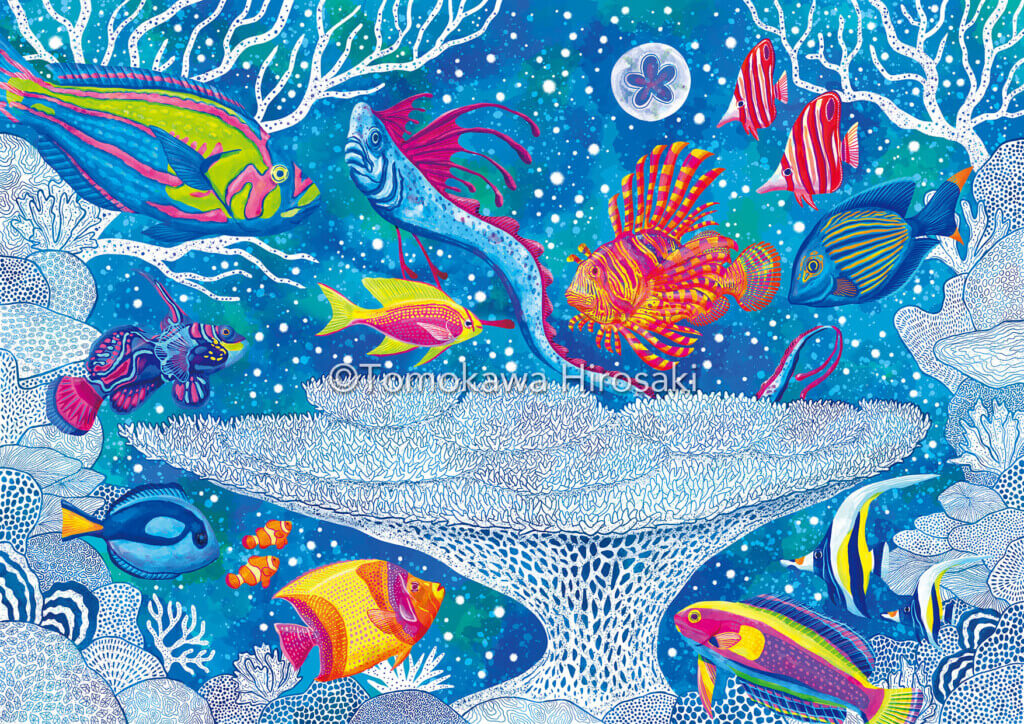 【海のアート】珊瑚の白化現象を絵に描いてみました