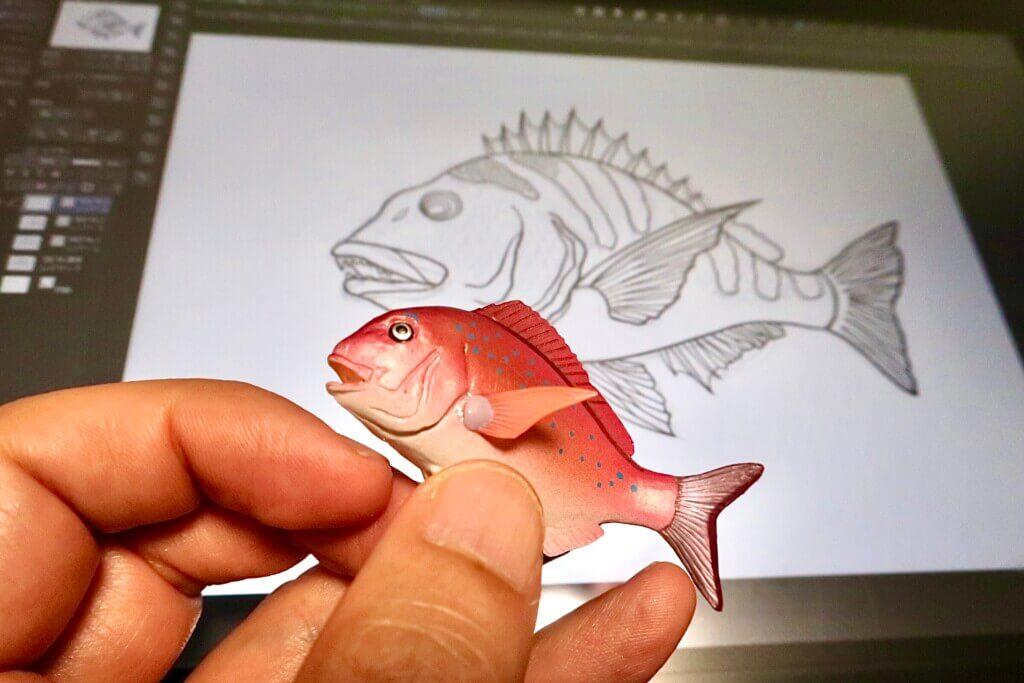 魚のイラストを描くために購入した立体フィギュアが便利だった!